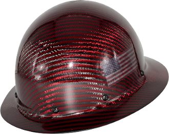 NEW Limited CC™ Carbon/Red Kevlar® Hard Hat : Full Brim USA Flag
