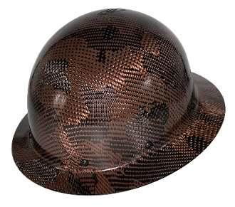 NEW Camouflage CC™ Carbon/Bronze Kevlar® Hard Hat : Full Brim